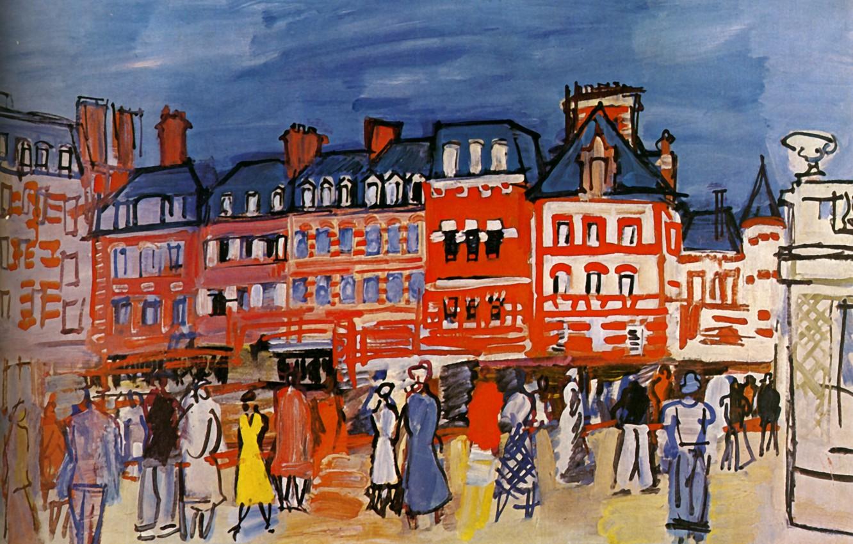 Фото обои 1933, Huile sur Toile, Raoul Dufy, de la Ville de Paris, MusВe d'art moderne, Maisons …