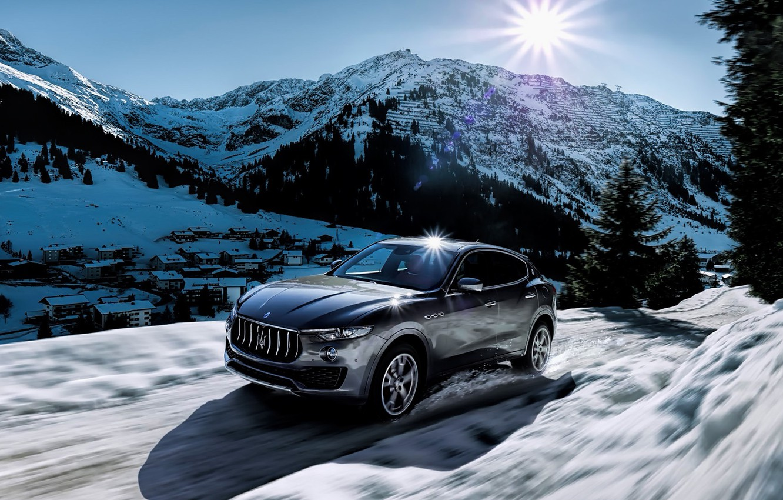 Фото обои зима, солнце, снег, горы, Maserati, levante
