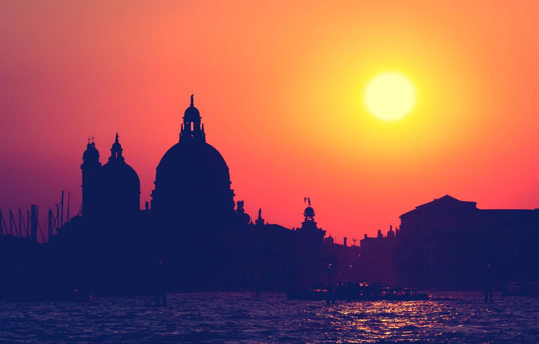 Фото обои sunset, Venice, Chiesa Santa Maria della Salute