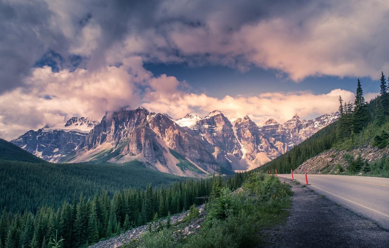 Фото обои дорога, облака, горы, красота