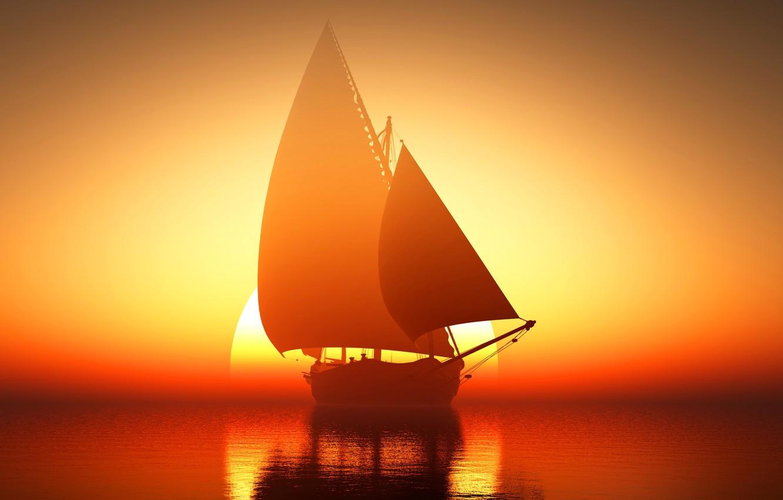 Фото обои море, солнце, восход, корабль, парусник, горизонт, зарево