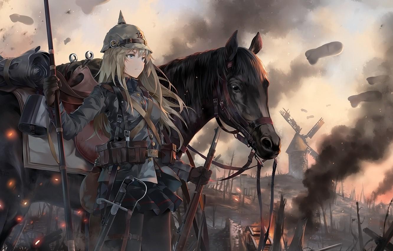 Фото обои девушка, лошадь, аниме, арт