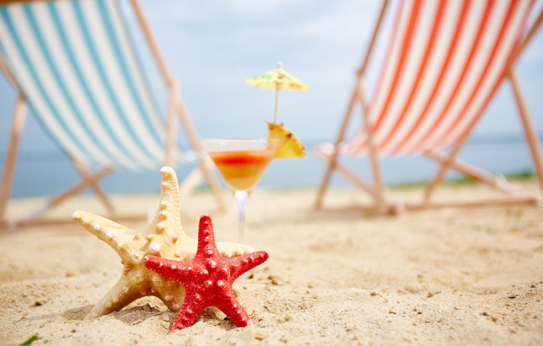 Фото обои песок, море, пляж, лето, отдых, шезлонг, морская звезда, summer, beach, каникулы, sea, sand, vacation, starfish, …