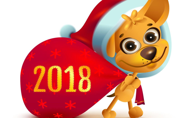Фото обои рисунок, собака, Новый год, 2018