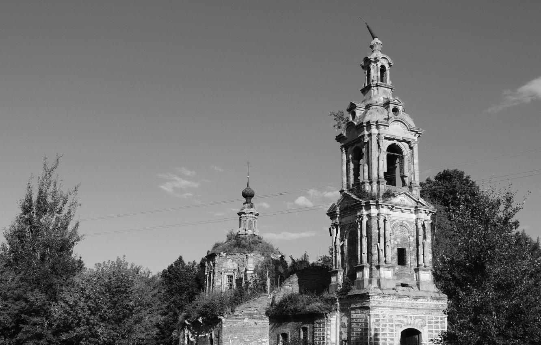Фото обои мрак, Небо, Церковь, Деревня, черно-белое, купол, Мрачность, Заброшенное