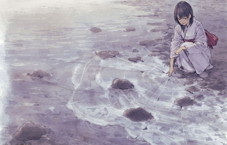Фото обои лед, море, девушка, кимоно