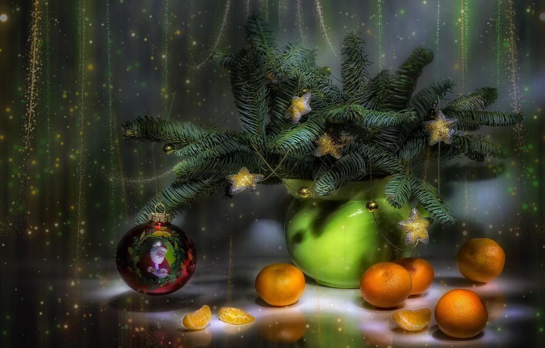 Фото обои новый год, натюрморт, мандарины