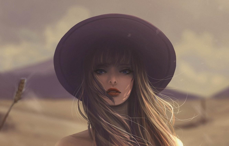 Фото обои девушка, лицо, шляпа, длинные волосы, art, размытый фон, Jennyshiii