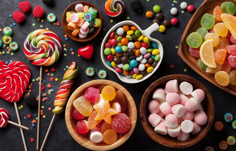 Фото обои леденцы, конфетти, мармелад, зефир