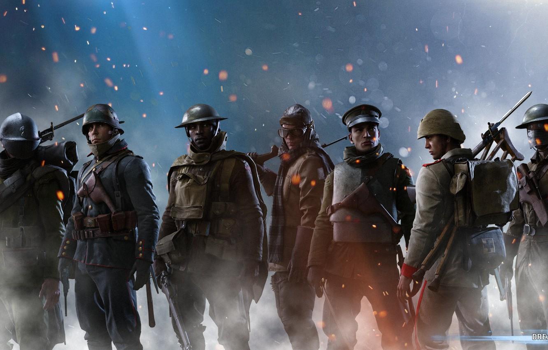 Фото обои wallpaper, battlefield, red, soldiers, soldier, blue, dice, class, ww1, particles, dreampiks, world war 1, battlefield …