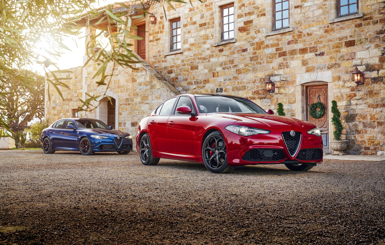Фото обои Красный, Alfa Romeo, Автомобили, Giulia, Металлик, 2016-17
