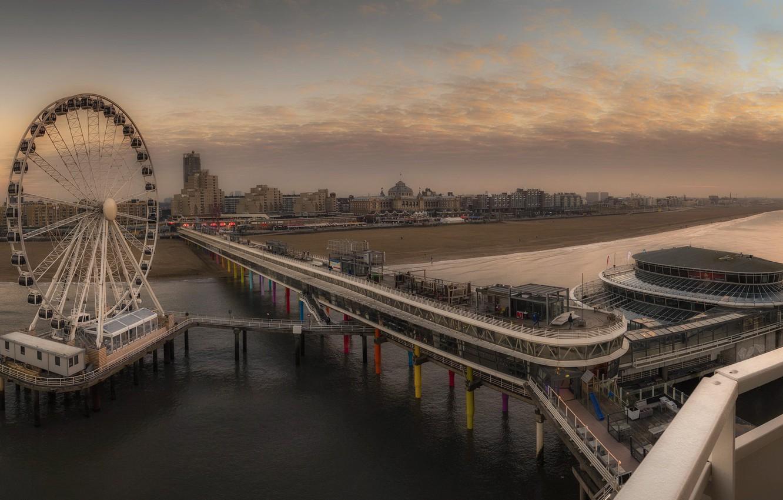 Фото обои sunset, pier, Netherlands, Scheveningen