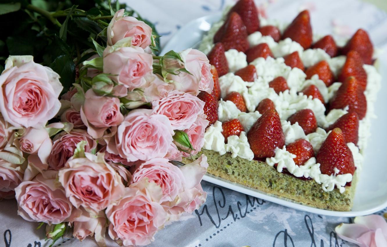 Открытки с тортами и розами