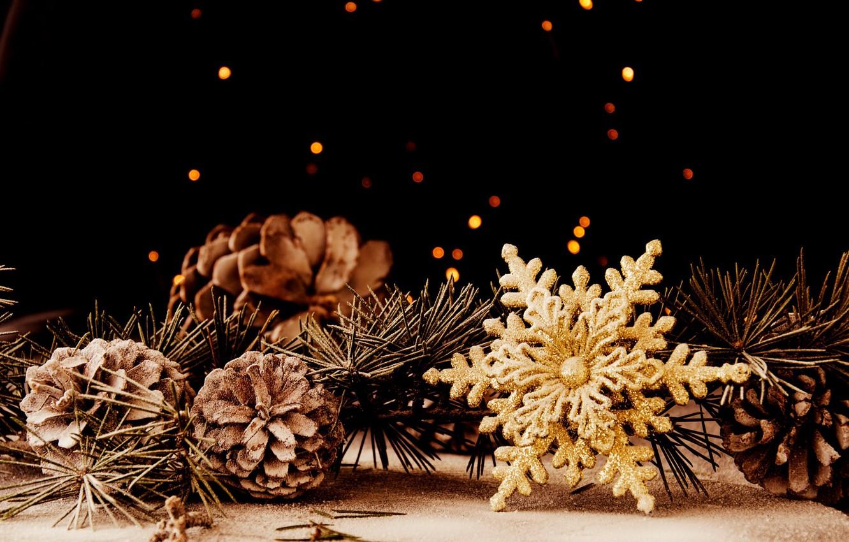 Фото обои праздник, игрушка, новый год, рождество, хвоя, шишки, сосна, снежинка, боке, декорация