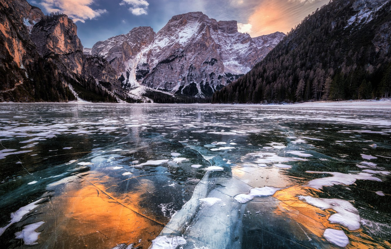 Фото обои горы, природа, озеро, лёд