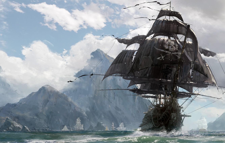 Фото обои skull, sword, game, pirate, island, ken, pirate ship, blade, ship, evil, kaizoku, Skull and Bones