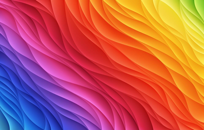 Фото обои абстракция, фон, радуга, abstract, Rainbow, background, колор, colored, wavy