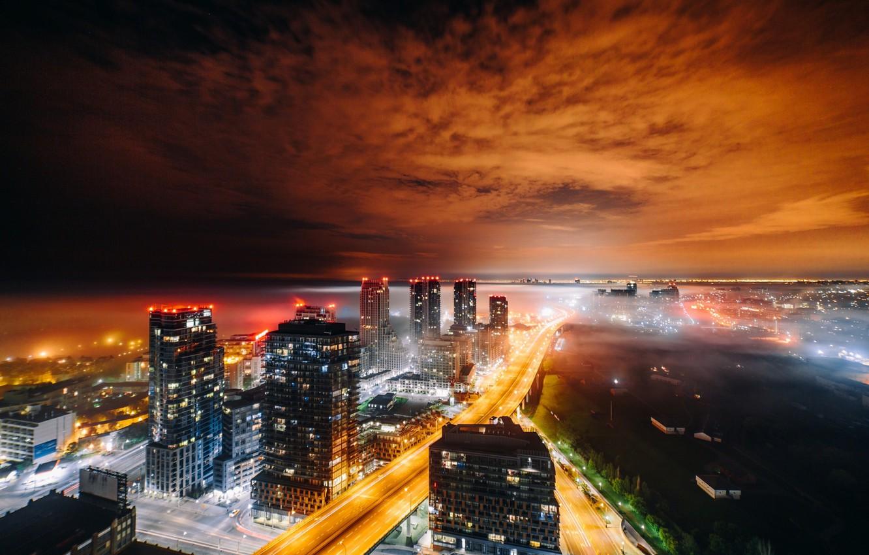 Фото обои свет, ночь, город, огни, дома, вечер