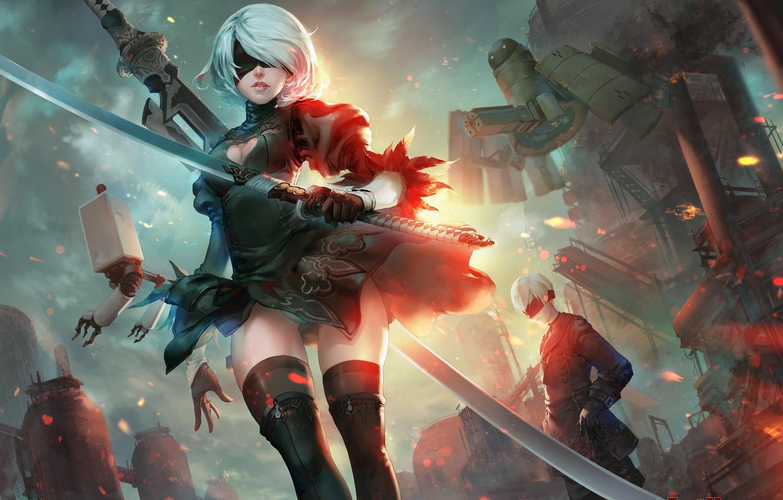 Фото обои девушка, оружие, огонь, меч, катана, роботы, арт, повязка, парень, nier, yorha unit no. 2 type …