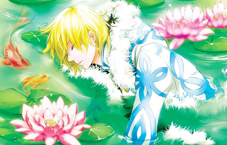 Фото обои вода, цветы, аниме, парень, лотосы, сенэн, Цубаса водохранилище Хроника