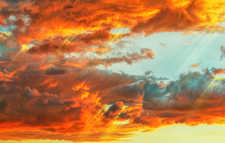 Фото обои небо, облака, закат, by exobiology