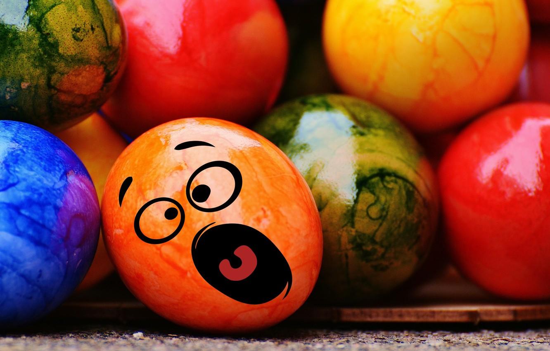 Фото обои colorful, смайл, Пасха, rainbow, Easter, eggs, funny, decoration, Happy, яйца крашеные