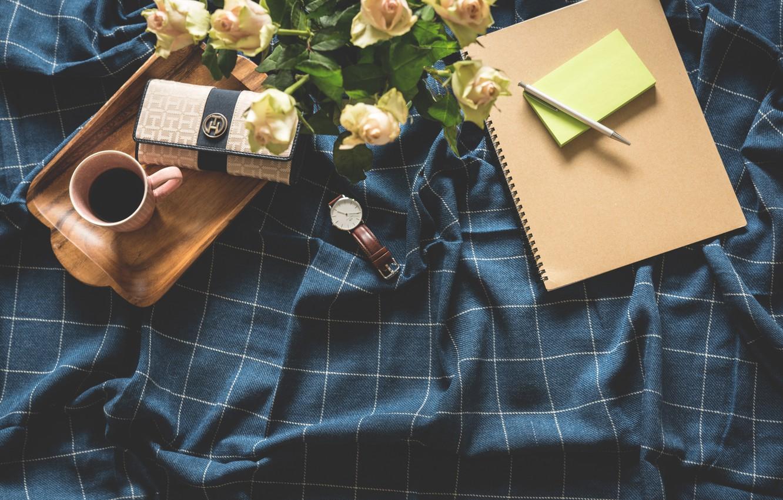 Фото обои цветы, стол, кофе, утро, ручка, блокнот