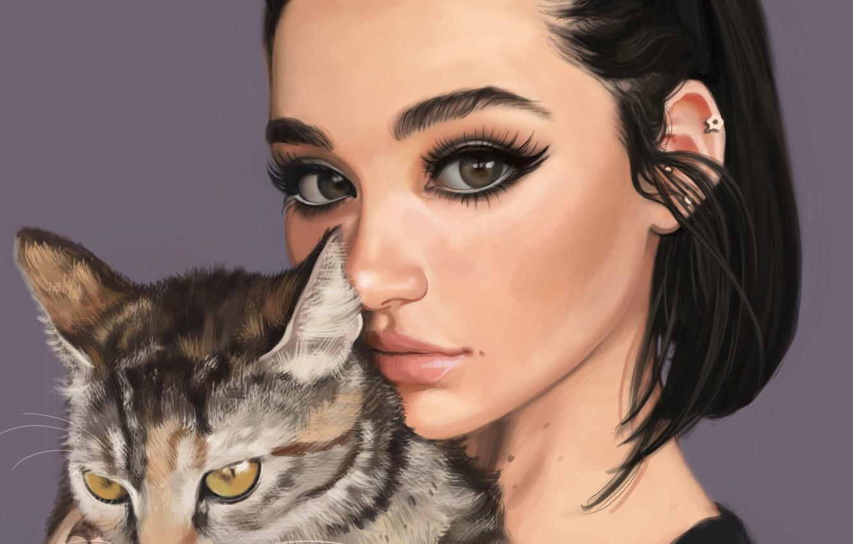 Фото обои кот, взгляд, девушка, лицо, животное, макияж, арт