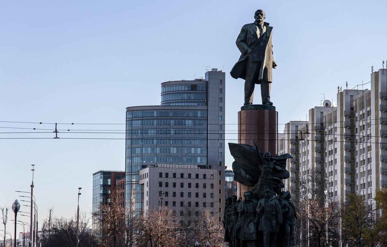 Фото обои здания, дома, памятник, Москва, Россия, Памятники Ленину