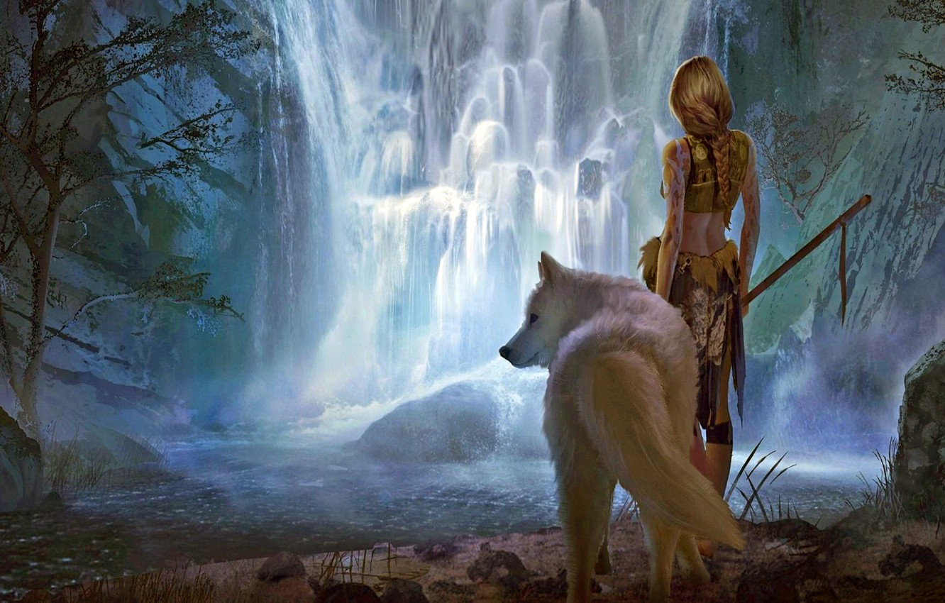 Фото обои girl, fantasy, forest, river, landscape, weapon, nature, Warrior, waterfall, braid, animal, wolf, blonde, digital art, …