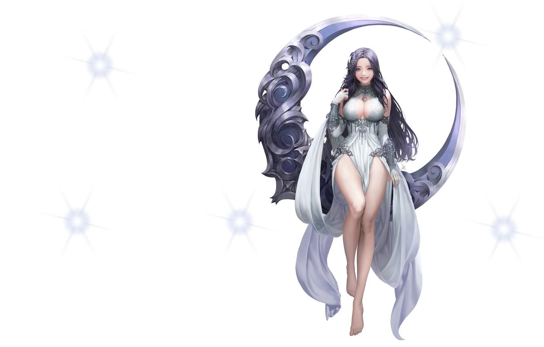 Фото обои металл, луна, фэнтези, арт, Illustrator, League of Angels, Daeho Cha, Moon goddess