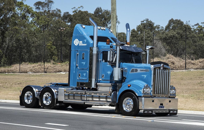 Фото обои Blue, Road, Kenworth, T909