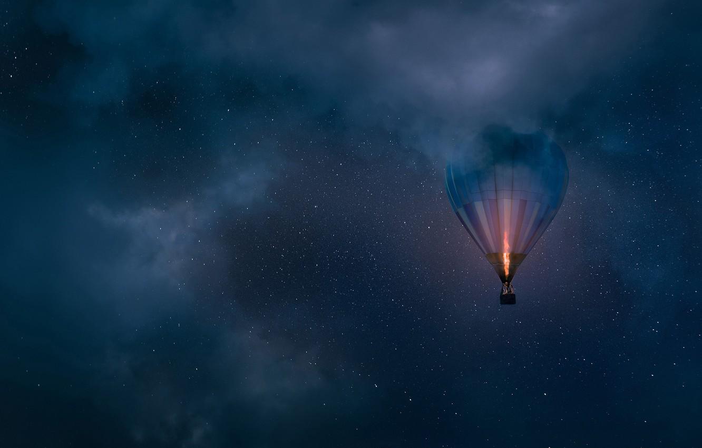Фото обои небо, облака, ночь, воздушный шар, звёзды, аэростат