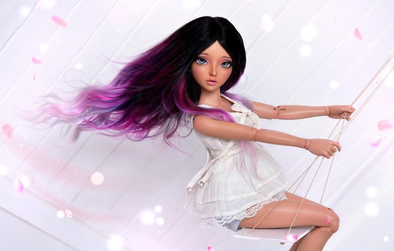 Фото обои девушка, качели, волосы, кукла