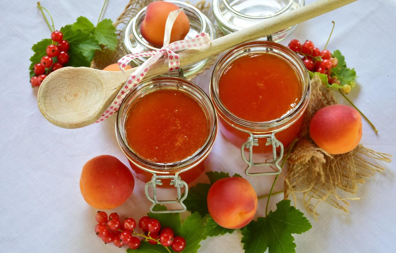 Фото обои сладость, банки, абрикосы, абрикосовый джем
