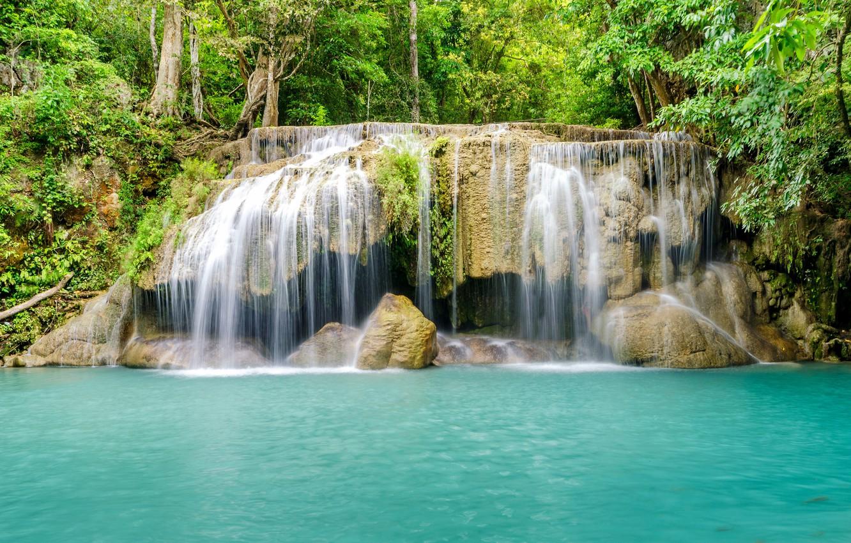 Фото обои лес, река, водопад, forest, river, landscape, jungle, blue, beautiful, waterfall, tropical