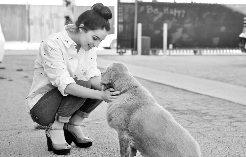 Фото обои девушка, радость, улыбка, доброта, игра, собака, girl, game, happy, smile, dog, black and white, черно- …