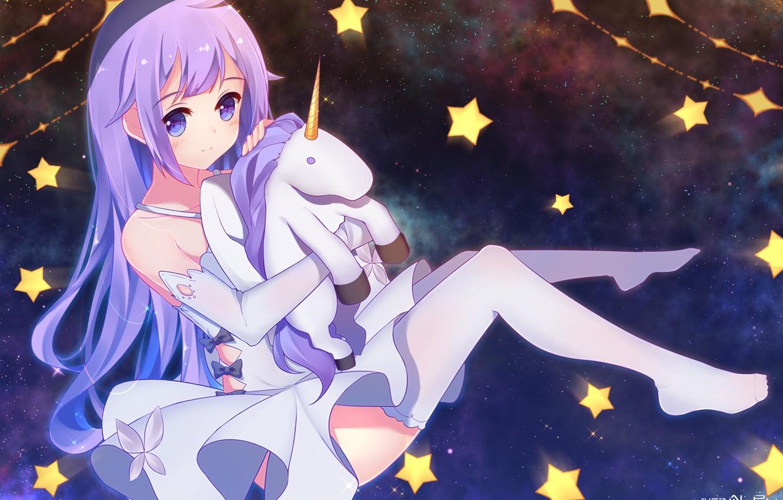 Фото обои космос, аниме, единорог, девочка, azur lane, hms unicorn
