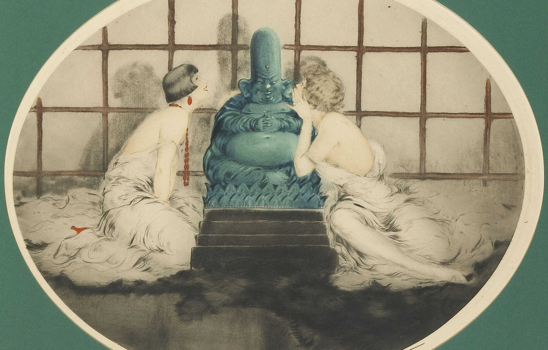Фото обои статуя, 1926, Louis Icart, арт-деко, офорт и акватинта, По секрету