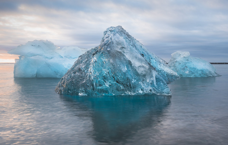 Фото обои зима, море, Природа, льдины