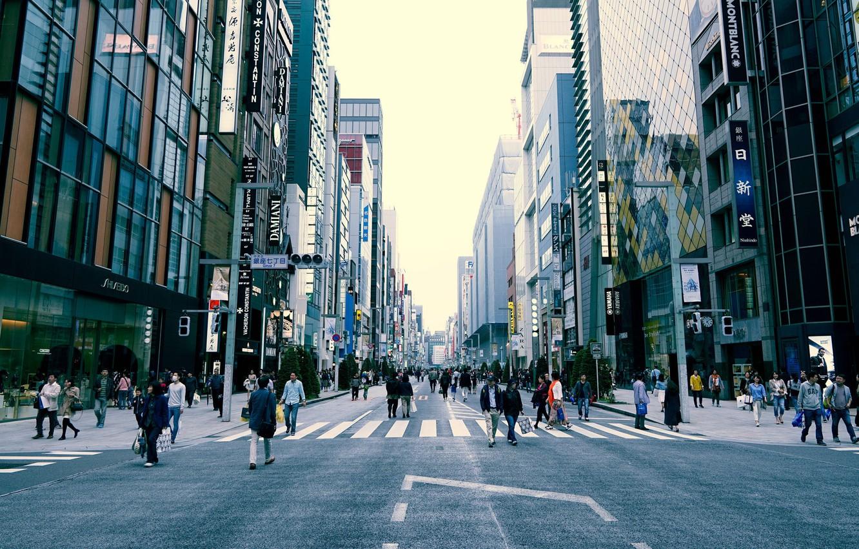 Фото обои Tokyo, Japan, street, people, cityscape, everyday life, urban scene