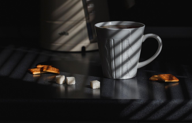 Фото обои чай, утро, печенье, чашка, сахар