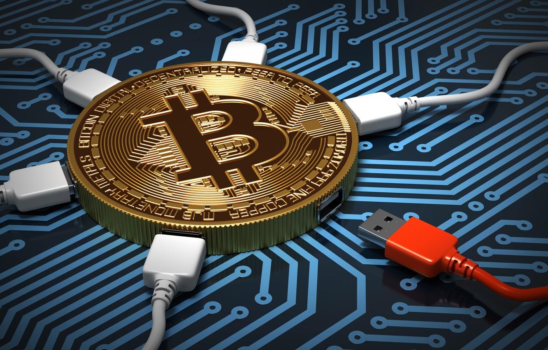 Фото обои абстракция, микросхема, деньги, плата, дорожки, подключение, арт, синий цвет, центр, монета, процессор, золотая, wallpaper., bitcoin, …