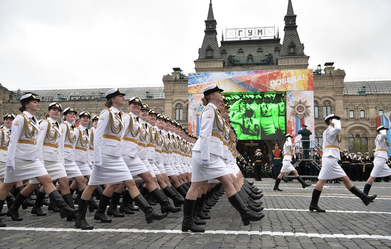 Фото обои день победы, парад, красная площадь, России, военного, обороны, 9 Мая, курсанты, университета