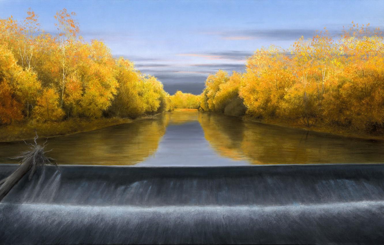 Фото обои осень, небо, водопад, бревно, жёлтые листья, Волков Александр, October Evening