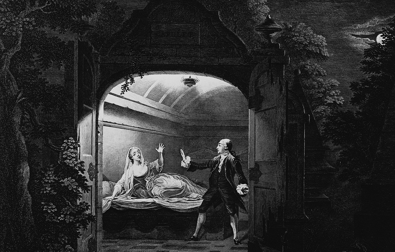 Фото обои 1765, Mr Garrick and Miss Bellamy, in the characters, of Romeo and Juliet