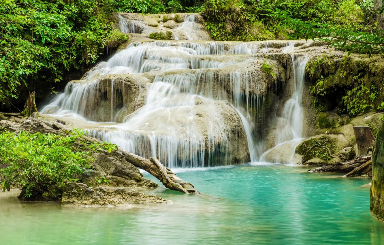 Фото обои лес, река, водопад, forest, river, landscape, jungle, beautiful, waterfall, tropical