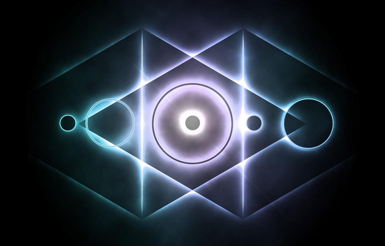 Фото обои абстракция, круг, свечение, треугольник