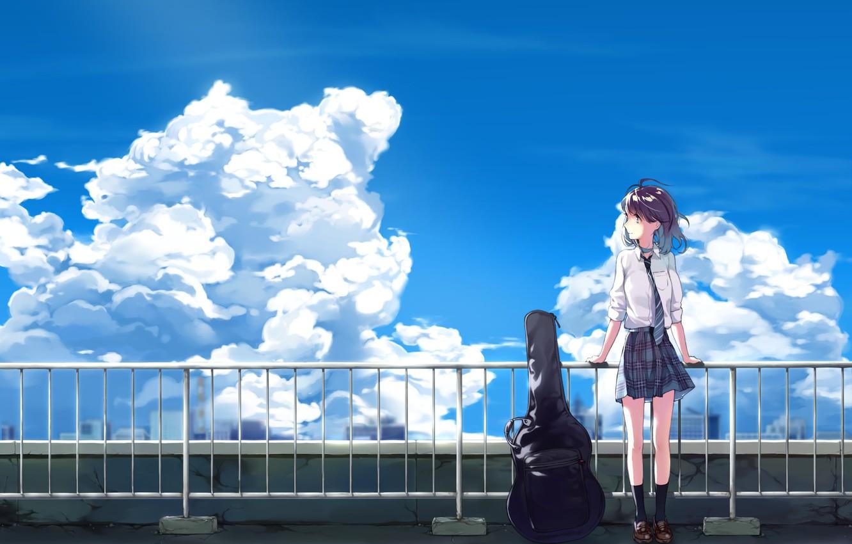 Фото обои небо, девушка, облака, гитара, аниме, арт, галстук, форма, школьница