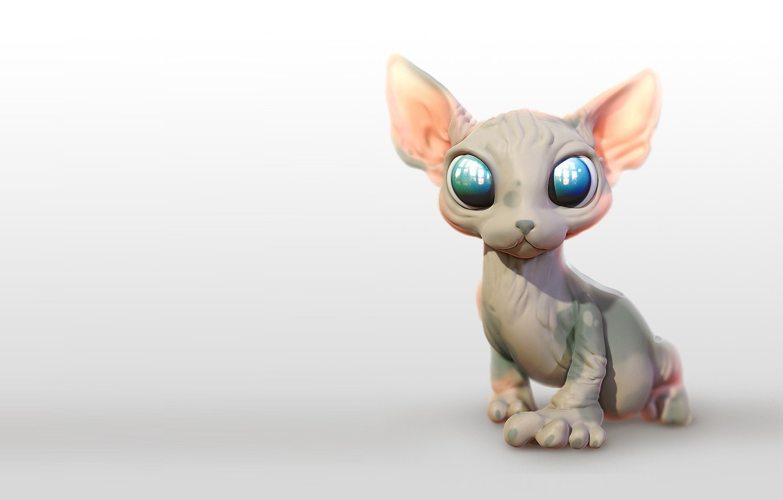 Фото обои кошка, малыш, арт, Сфинкс, phan thanh truc, Sphynx